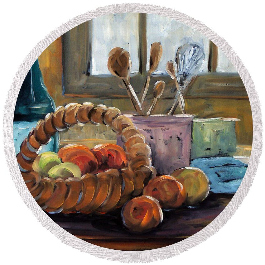 Art Round Beach Towel featuring the painting Nature Morte by Richard T Pranke