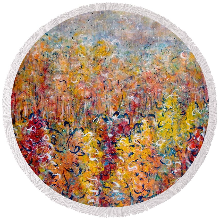 Autumn Round Beach Towel featuring the painting Nature by Natalie Holland
