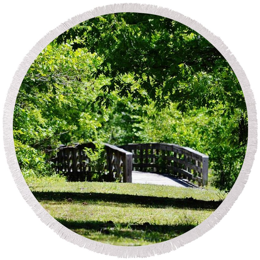Walkway Round Beach Towel featuring the photograph Nature Trail by Eileen Brymer