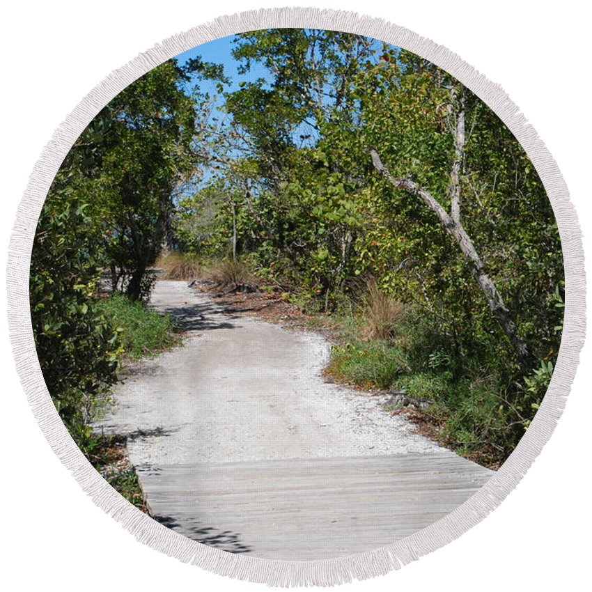 Gravel Round Beach Towel featuring the photograph Nature Trail by Gary Wonning