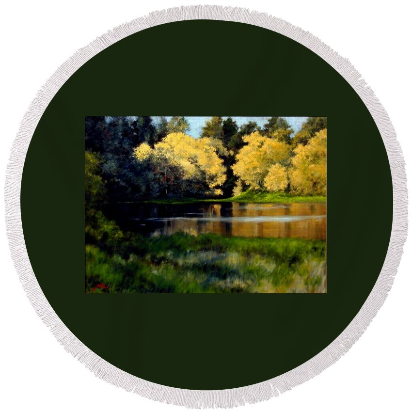 Landscape Round Beach Towel featuring the painting Nature Walk by Jim Gola