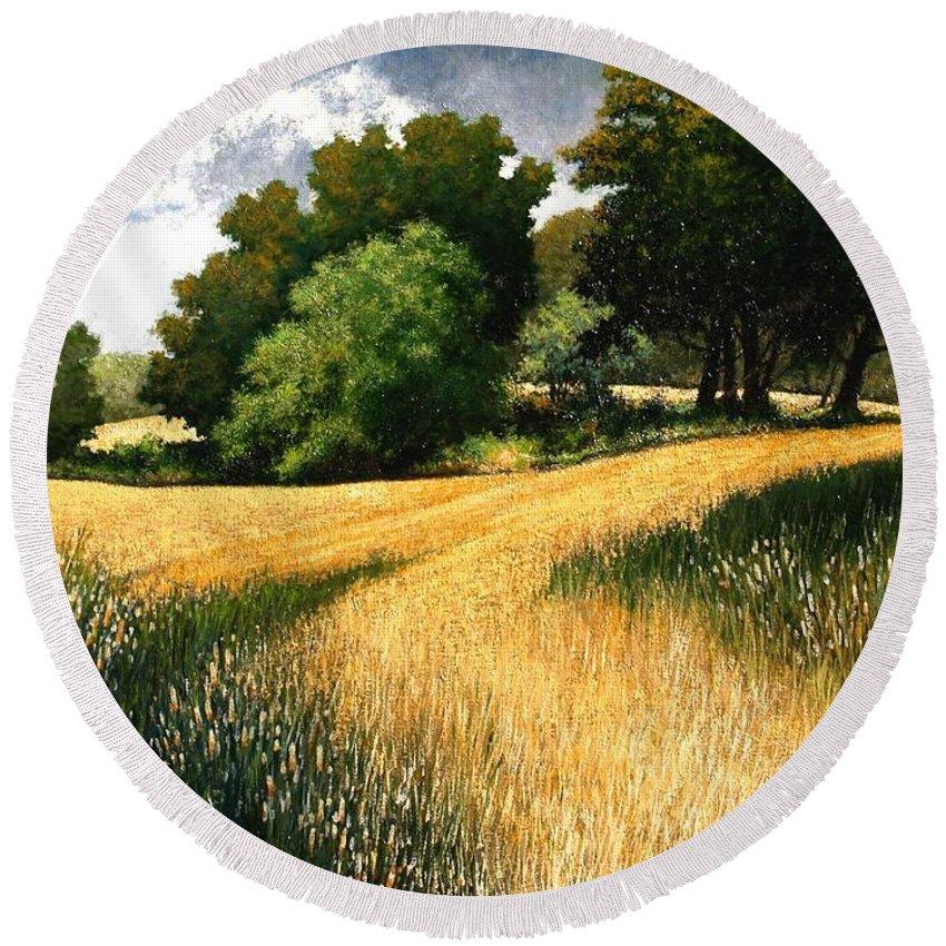 Landscape Round Beach Towel featuring the painting Nature Walk Ridgefield Washington by Jim Gola
