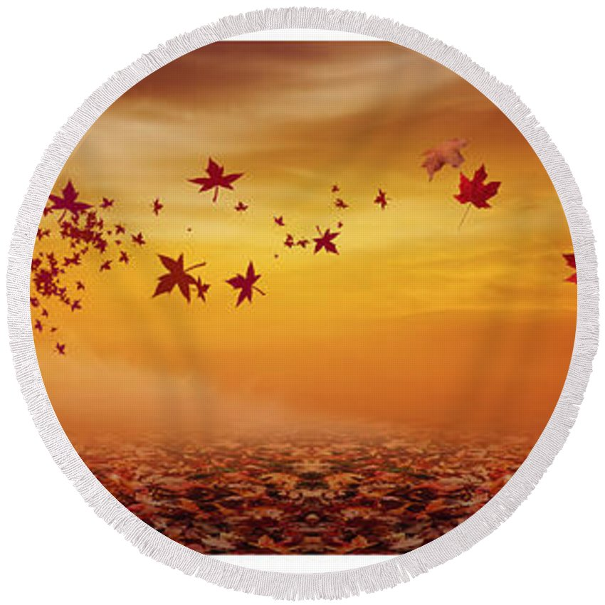 Maple Tree Round Beach Towel featuring the photograph Nature's Art by Lourry Legarde