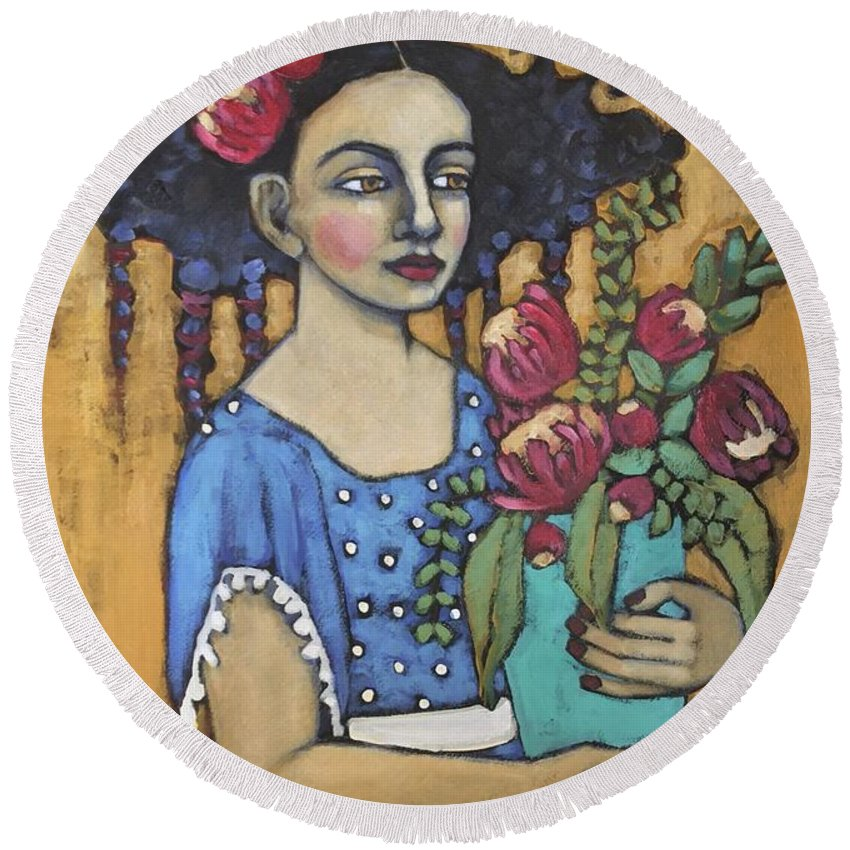 Folk Art Round Beach Towel featuring the painting Nature's Bounty by Jane Spakowsky