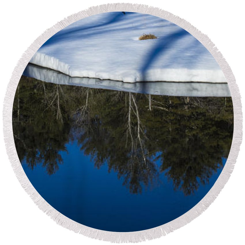Ice Round Beach Towel featuring the photograph Natures Flip Side by Mim White