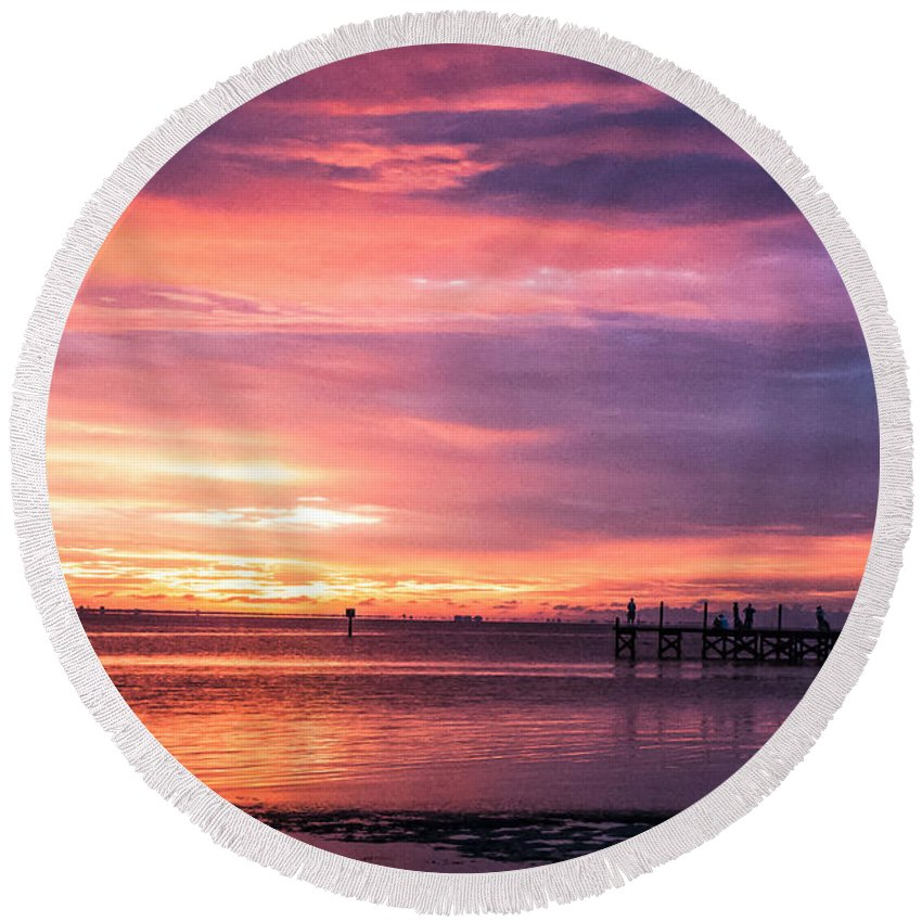 Sunset Round Beach Towel featuring the photograph Nature's Palette by Norman Johnson