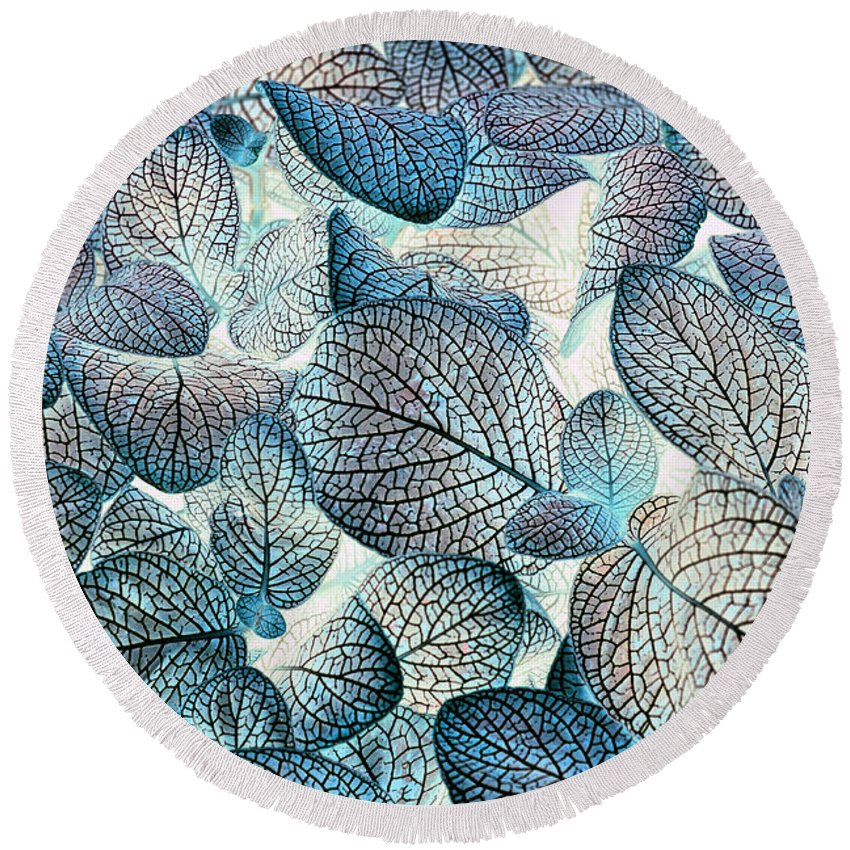 Leaves Round Beach Towel featuring the photograph Nature's Tracery by Wayne Sherriff