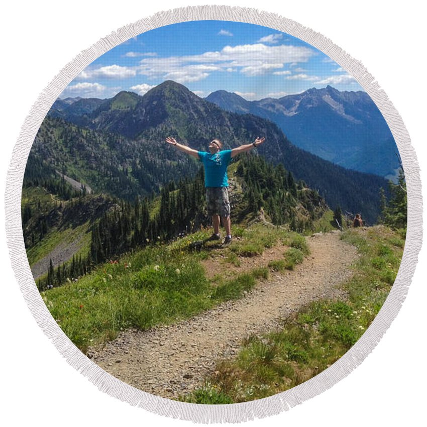 Idaho Peak Round Beach Towel featuring the photograph The Hills Are Alive by Joy McAdams