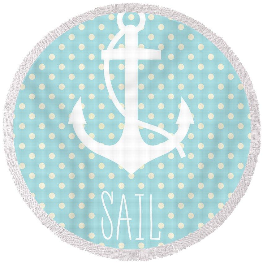 Sail Round Beach Towel featuring the digital art Nautical Anchor by Zapista OU