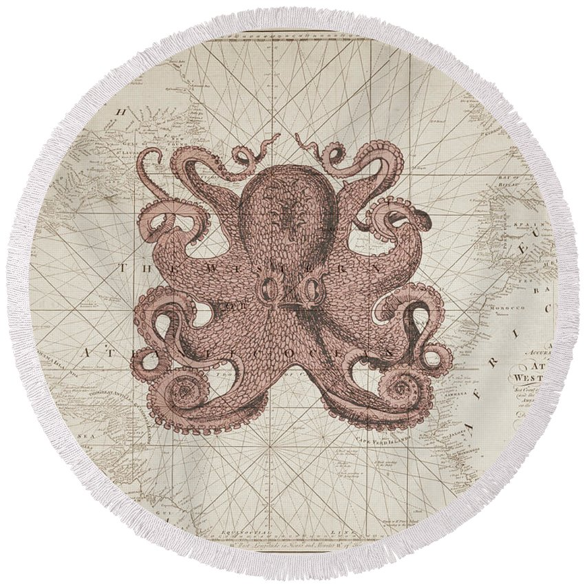 Octopus Round Beach Towel featuring the digital art Nautical Octopus Sea Chart by Erin Cadigan