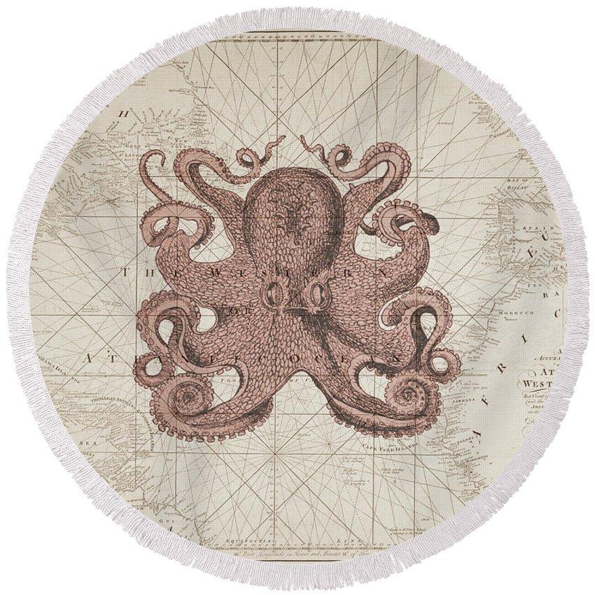 Octopus Round Beach Towel featuring the digital art Nautical Octopus Sea Chart by Erin Cadigan