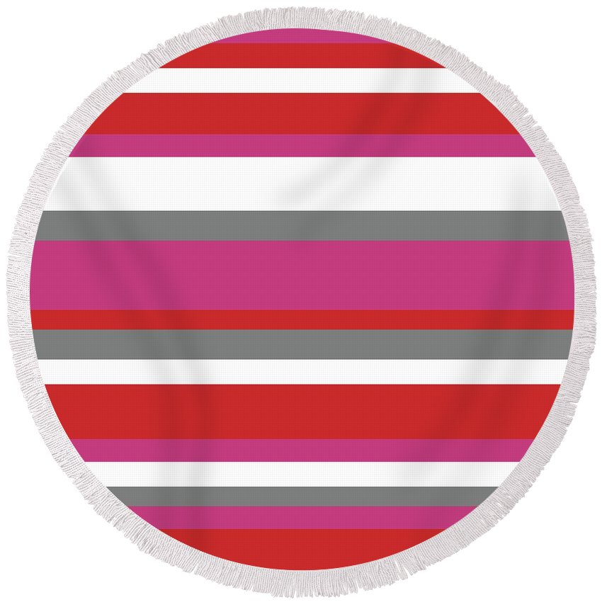 Nautical Stripes Round Beach Towel featuring the digital art Nautical Stripes by Saadana Shanmukam