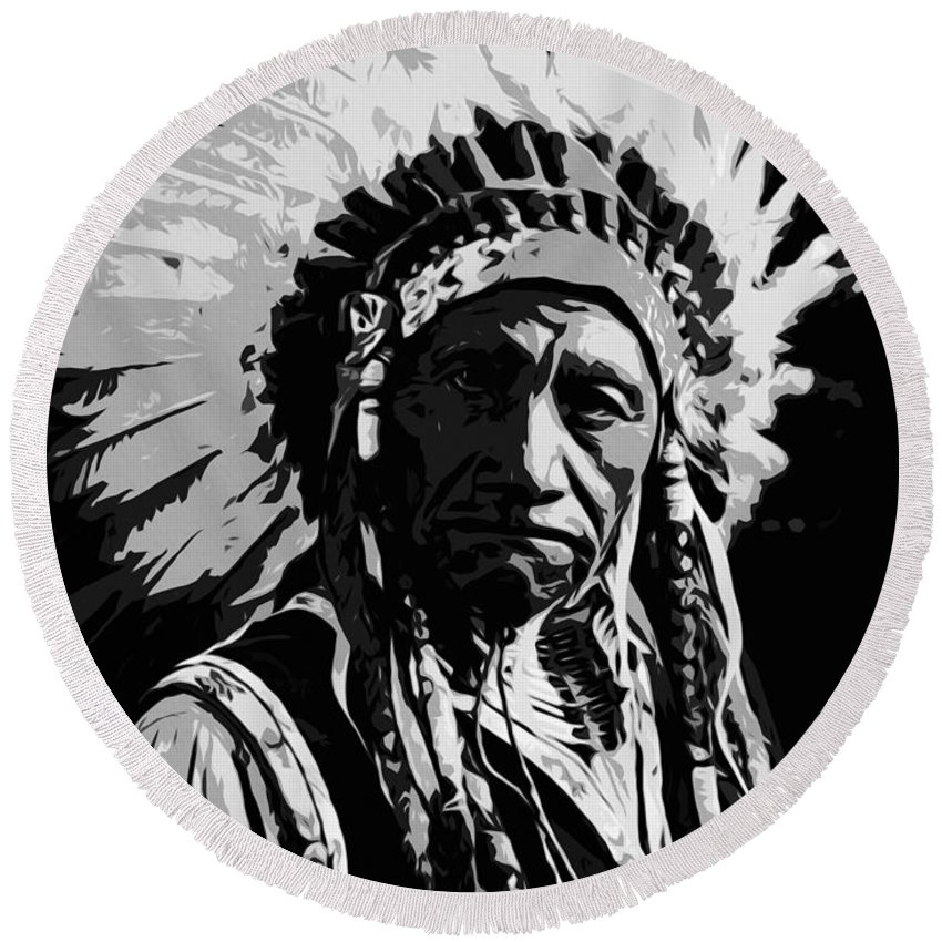 Portrait Round Beach Towel featuring the painting Navajo Indian Chief by Andrea Mazzocchetti