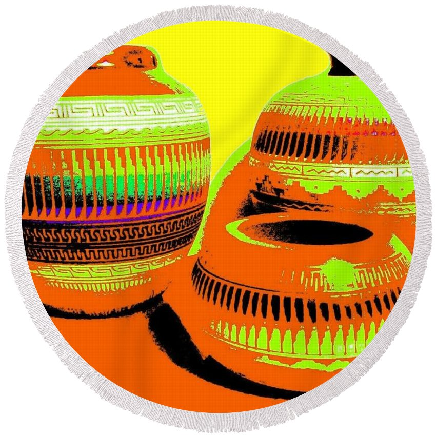 Abstract Round Beach Towel featuring the digital art Navajo Pots by Will Borden