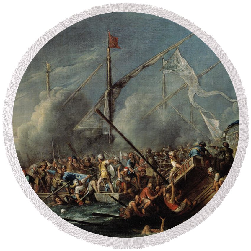 Cornelis De Wael Round Beach Towel featuring the painting Naval Battle Between Spanish And Turks by Cornelis de Wael
