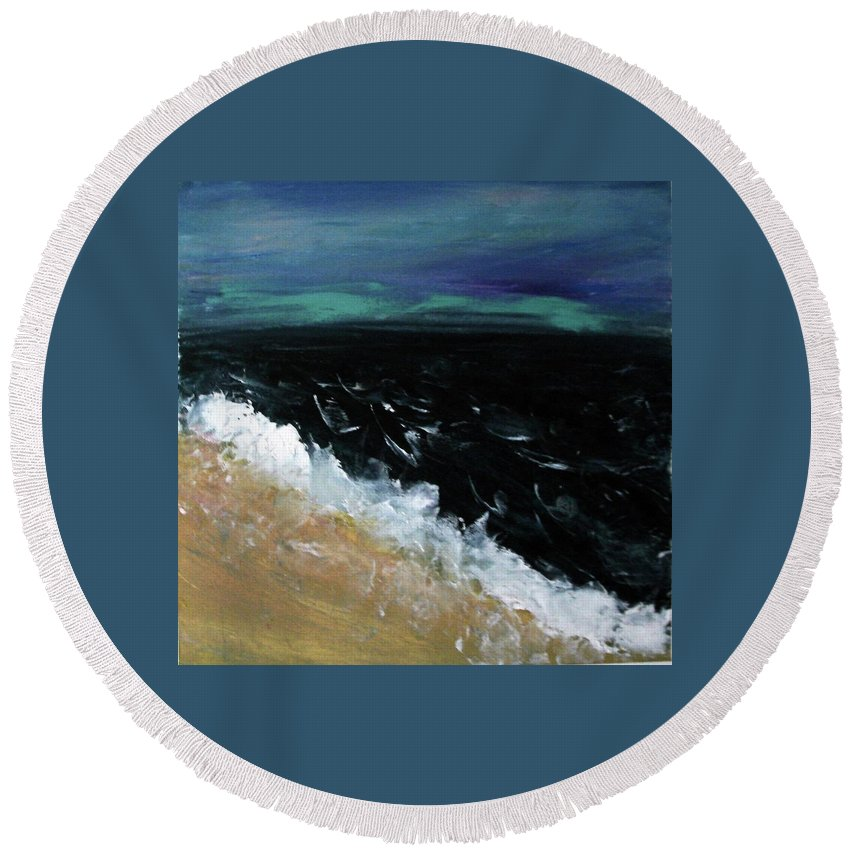 Round Beach Towel featuring the painting Navy Blue Ocean by Martha Dolan