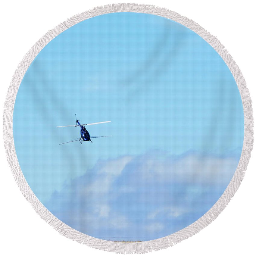 Navy Blue Steel Dragonfly ~ Helicopter Crop Duster Round Beach Towel featuring the photograph Navy Blue Steel Dragonfly Helicopter Crop Duster by Stephanie Forrer-Harbridge