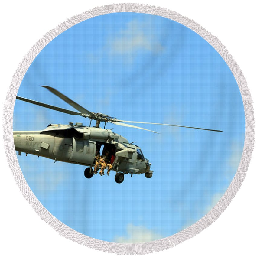 Navy Round Beach Towel featuring the photograph Navy Helicopter by Travis Rogers