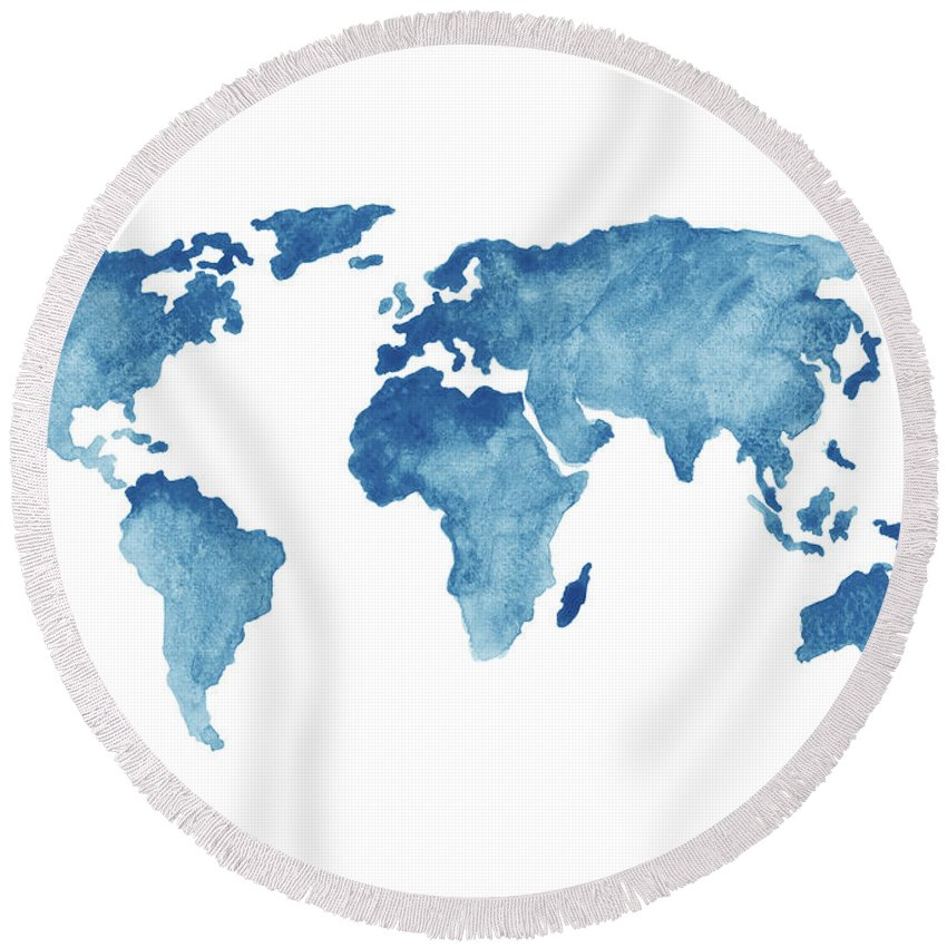 Painting Round Beach Towel Featuring The Painting World Map Blue, Navy Kids  Room Painting,