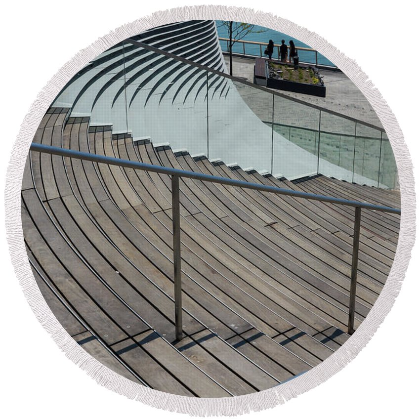 America Round Beach Towel featuring the photograph Navy Pier Stairs by Jennifer White