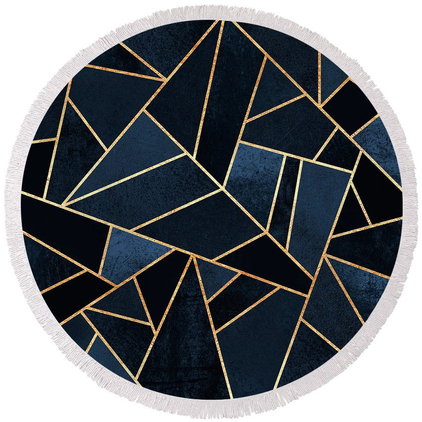 Digita Round Beach Towel featuring the digital art Navy Stone by Elisabeth Fredriksson