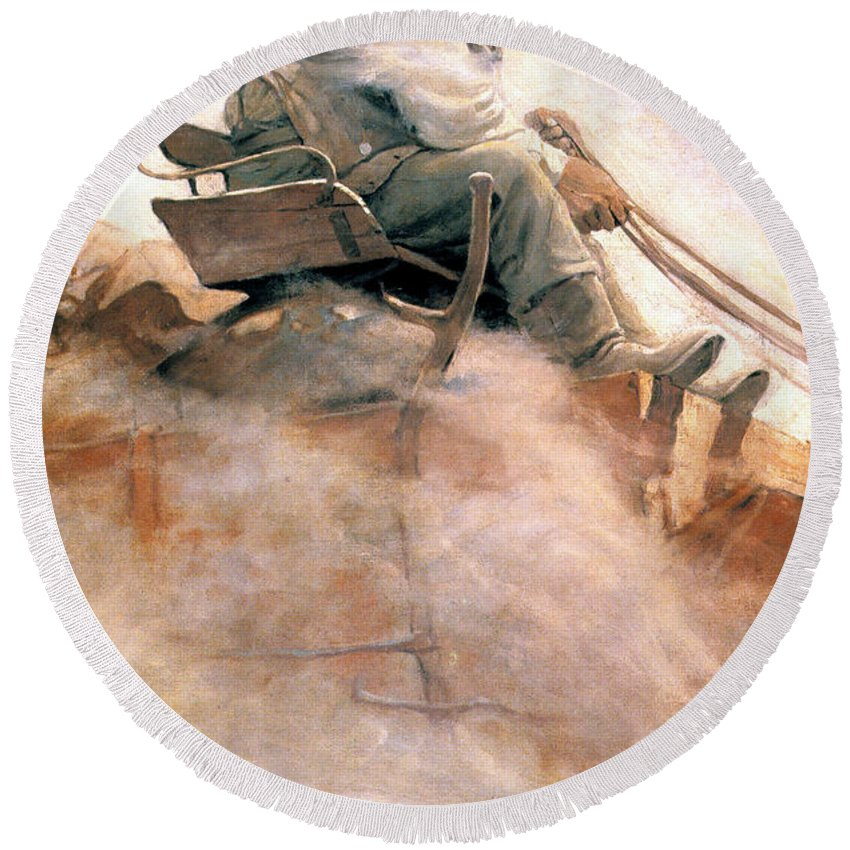 1907 Round Beach Towel featuring the photograph N.c. Wyeth: Ore Wagon by Granger