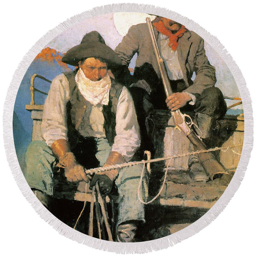 1909 Round Beach Towel featuring the photograph N.c. Wyeth: The Pay Stage by Granger