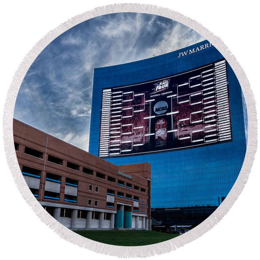 Indiana Round Beach Towel featuring the photograph Ncaa Bracket by Ron Pate
