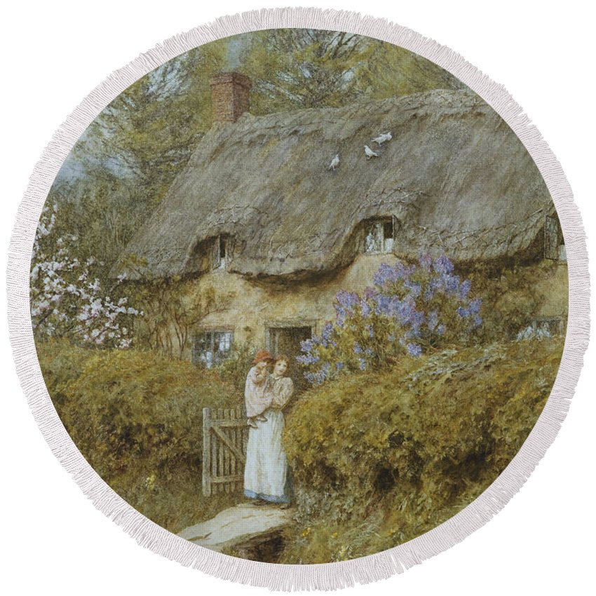 Cottage; English; Landscape; Victorian; C19th; C20th; Thatched; Thatch; Gate; Gateway; Hedge; Mother; Child; Baby; Female Round Beach Towel featuring the painting Near Freshwater Isle Of Wight by Helen Allingham