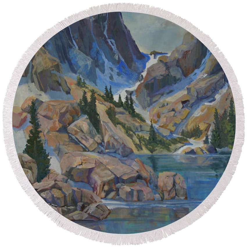 Hayden Spires Round Beach Towel featuring the painting Near Hayden Spires by Heather Coen