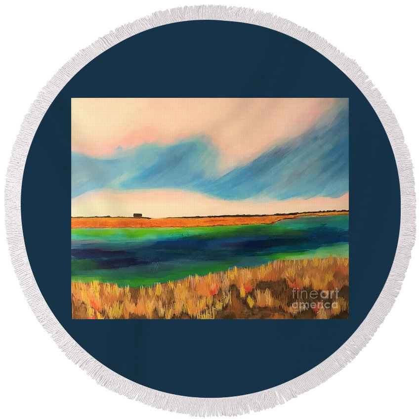 Landscape Round Beach Towel featuring the painting Near Home by Kate Speer Ely