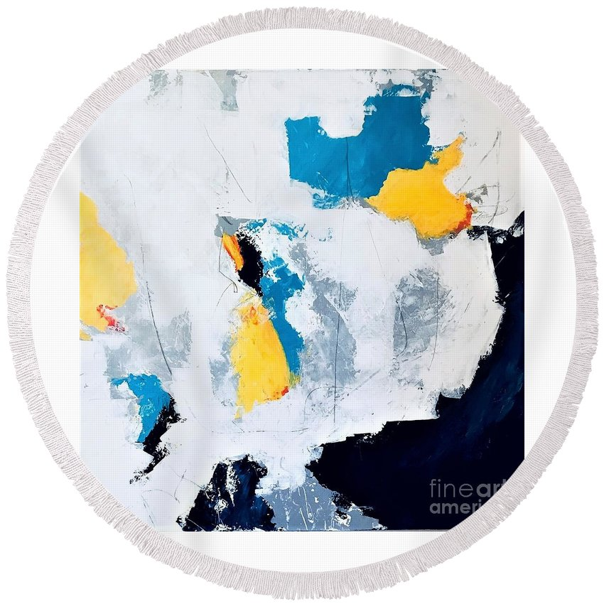 White Round Beach Towel featuring the painting Near Norway by Kate Speer Ely