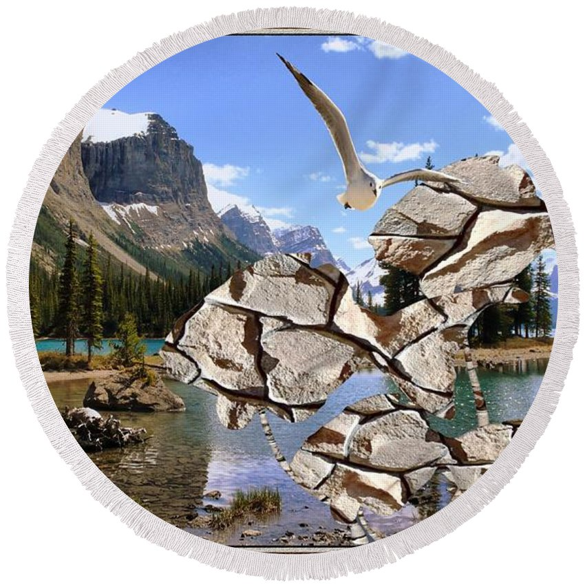 Modern Painting Round Beach Towel featuring the mixed media Near The Lake In The Mountain 2 by Pemaro