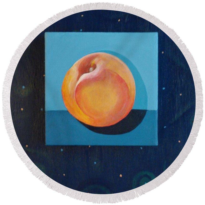 Nectarine Round Beach Towel featuring the painting Nectarine by Helena Tiainen