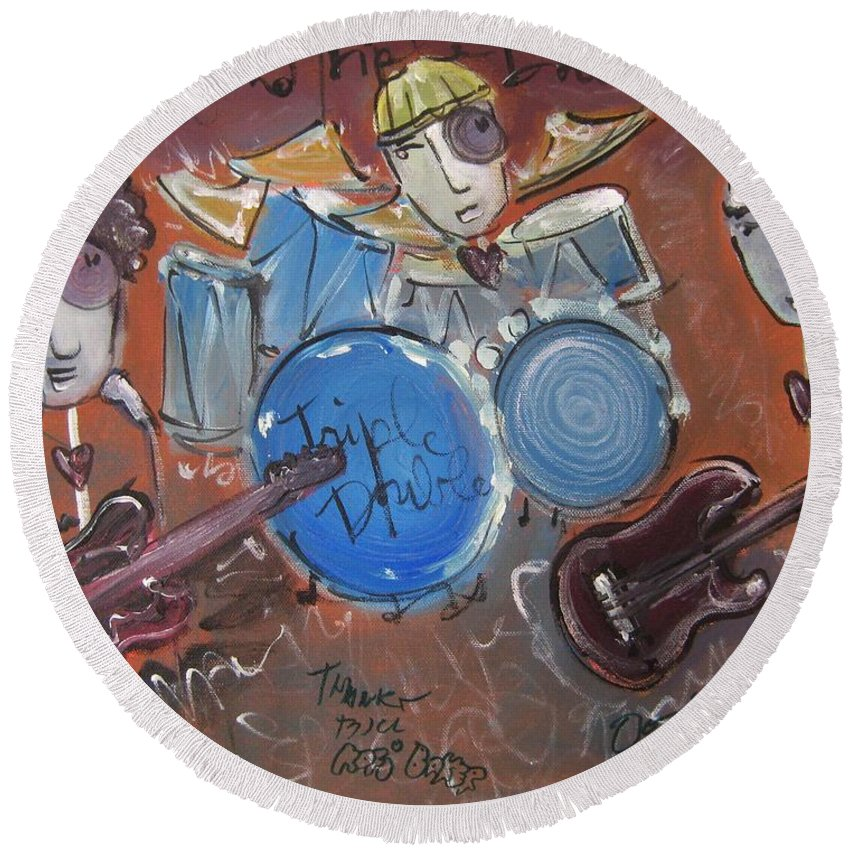 Ned Evett Round Beach Towel featuring the painting Ned Evett And Triple Double by Laurie Maves ART