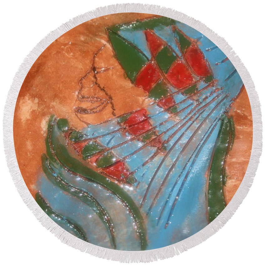 Jesus Round Beach Towel featuring the ceramic art Need More Candy - Tile by Gloria Ssali