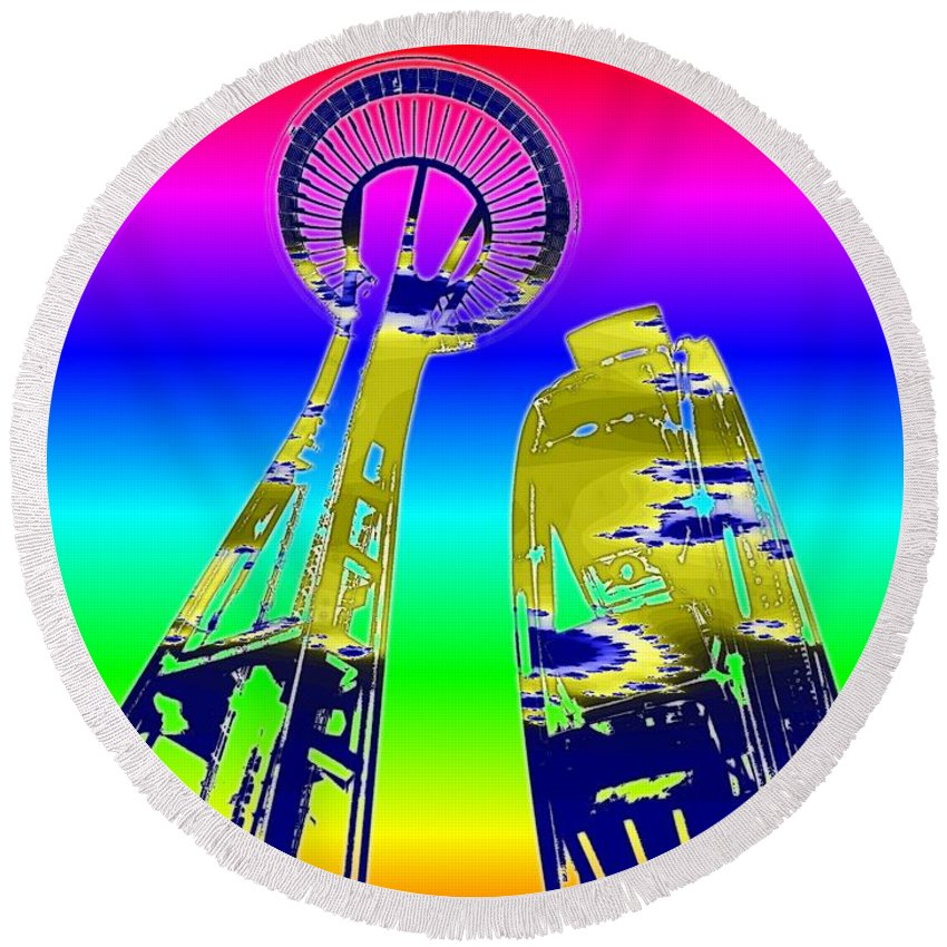 Seattle Round Beach Towel featuring the digital art Needle And Ferris Wheel Fractal by Tim Allen