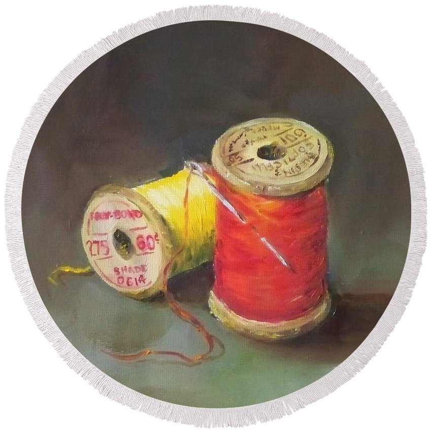 Needle Round Beach Towel featuring the painting Needle And Thread No. 2 by Kristine Kainer