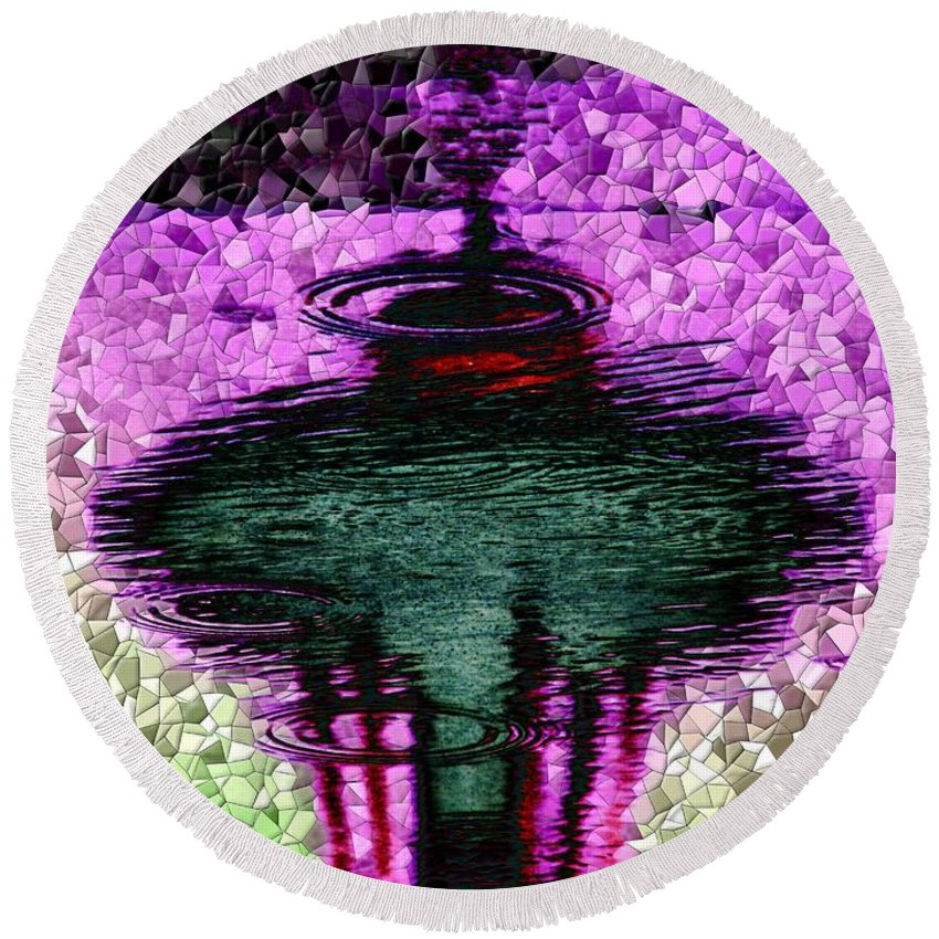 Seattle Round Beach Towel featuring the digital art Needle In A Raindrop Stack 3 by Tim Allen