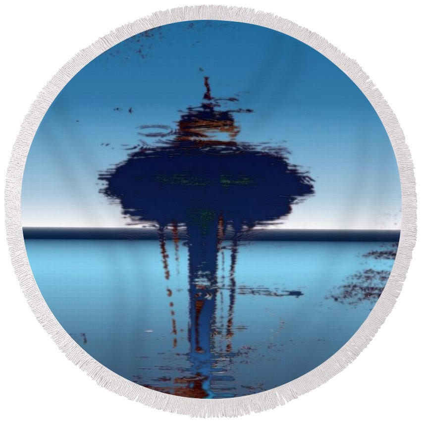Seattle Round Beach Towel featuring the digital art Needle In A Raindrop Stack 4 by Tim Allen