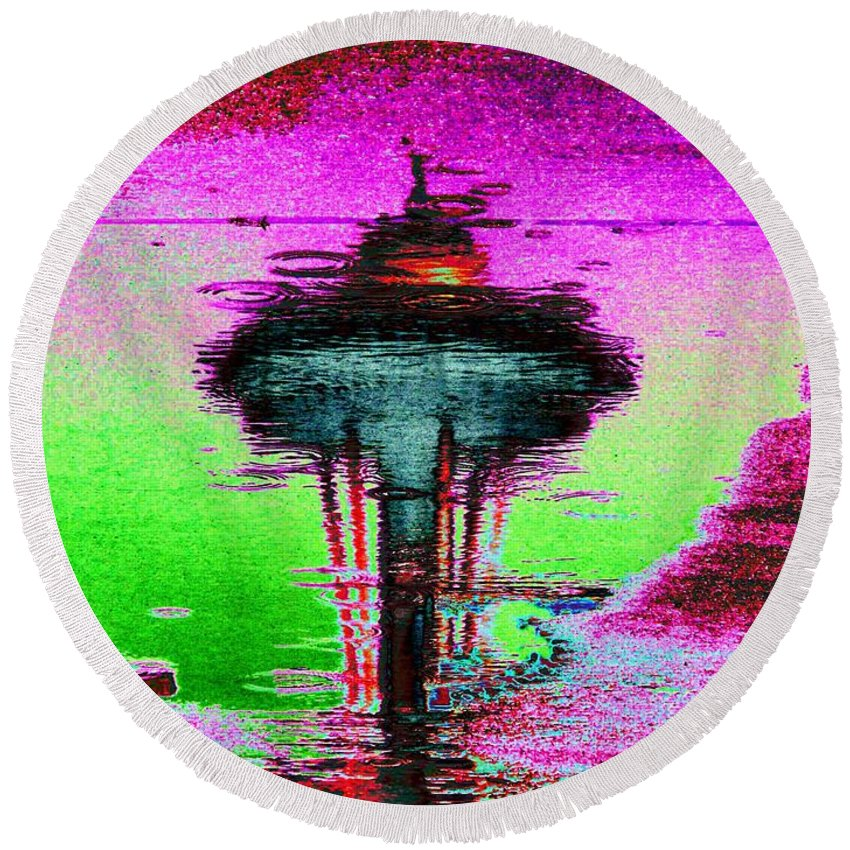Seattle Round Beach Towel featuring the digital art Needle In A Raindrop Stack by Tim Allen