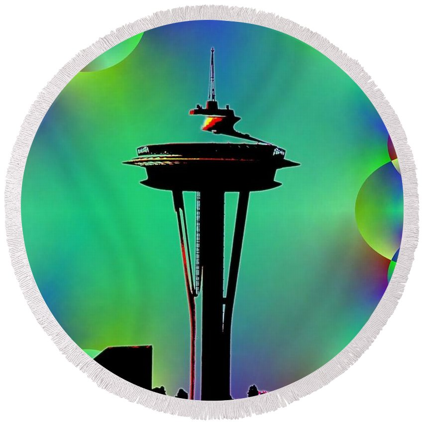 Seattle Round Beach Towel featuring the digital art Needle In Fractal 3 by Tim Allen