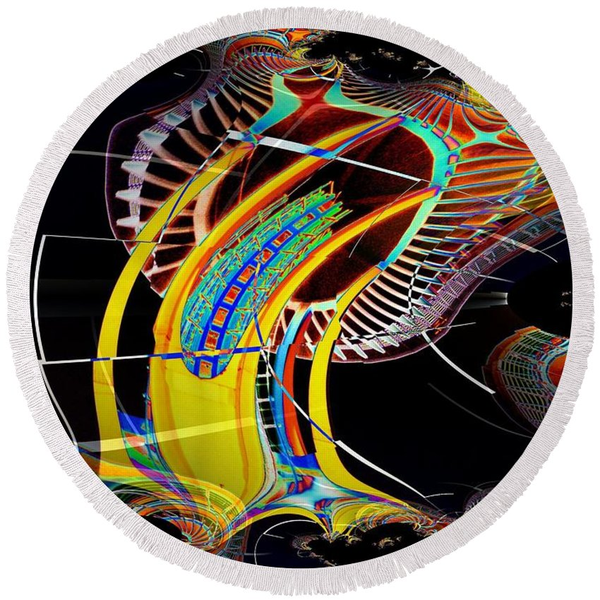 Seattle Round Beach Towel featuring the photograph Needle In Fractal 4 by Tim Allen