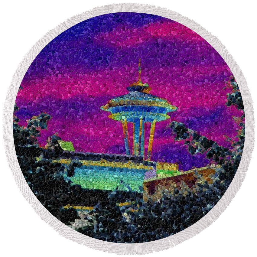 Seattle Round Beach Towel featuring the photograph Needle In Mosaic 2 by Tim Allen