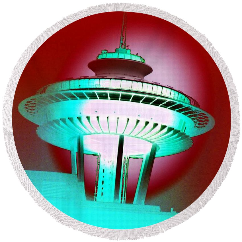 Seattle Round Beach Towel featuring the photograph Needle In Red by Tim Allen
