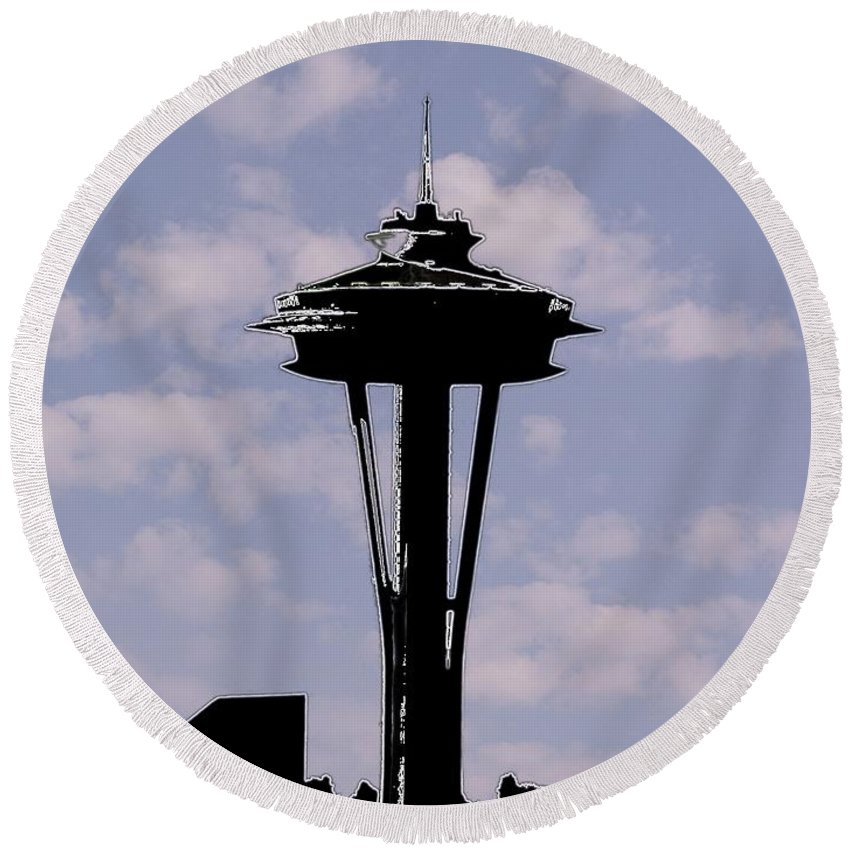 Seattle Round Beach Towel featuring the digital art Needle In The Clouds by Tim Allen
