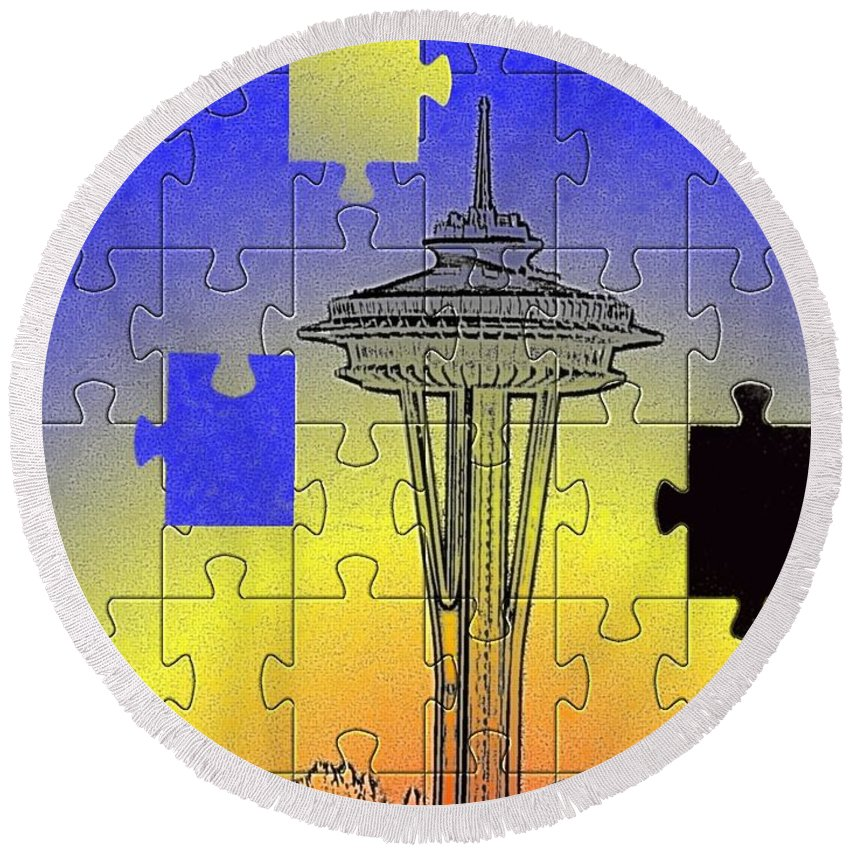 Seattle Round Beach Towel featuring the photograph Needle Jigsaw by Tim Allen