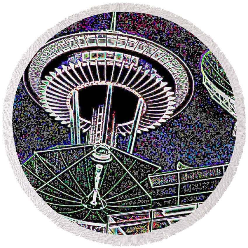 Seattle Round Beach Towel featuring the digital art Needle Over Fisher Plaza by Tim Allen