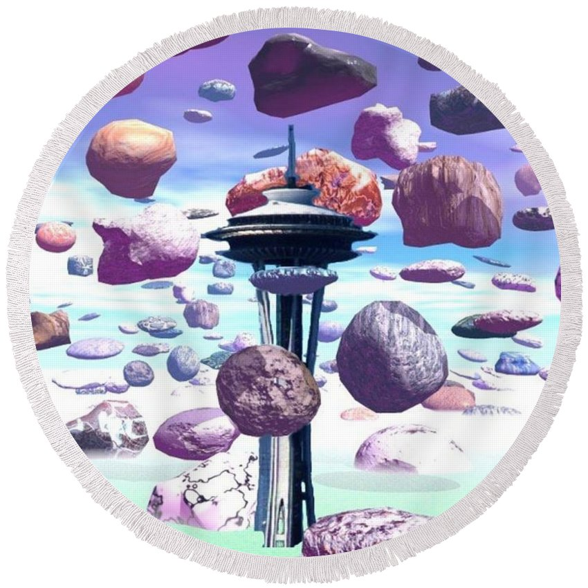 Seattle Round Beach Towel featuring the photograph Needle Rocks by Tim Allen