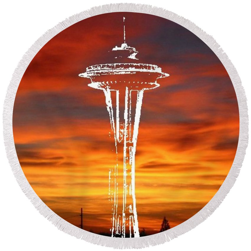 Seattle Round Beach Towel featuring the digital art Needle Silhouette by Tim Allen